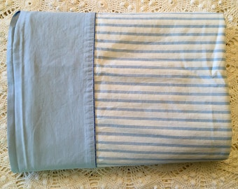 Vintage Percale All Cotton Sheet - Blue Stripe - Full Flat - Cotton Percale