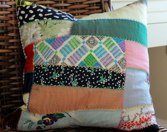 Vintage Silk Quilt Top Pillow with Feather Insert - Blue and Ivory Ticking - Retro - Comfy Style One of a Kind - Patchwork Pillow Cover