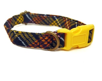 Harvest Plaid - Black Yellow Orange Brown White Plaid Fall Autumn Organic Cotton CAT Collar Breakaway Safety - All Antique Brass Hardware