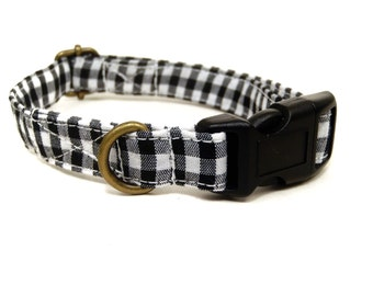 The Edison - Black White Gingham Plaid Rustic Country Organic Cotton CAT Collar Breakaway Safety - All Antique Brass Hardware