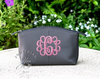 Grey Monogrammed Leather Cosmetic Bag - Personalized Leather makeup case, monogrammed bridesmaids bags, gray toiletries bags for women