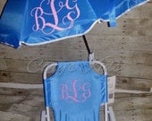 Toddler Kids Childrens Beach Chair and Umbrella Monogrammed Personalized PINK BLUE PURPLE
