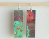 Gastropoda, Paper & Wood Earrings, .75x2.25""