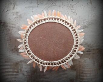Crochet Lace Stone, Beads, Original, Tribal, Handmade, Table Decorations, Home Decor, Folk Art, Bohemian