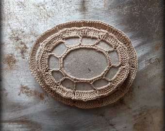 Table Decorations, Crochet Lace Stone, Original, Handmade, Home Decor, Woodland, Folk Art