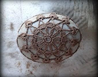 Crochet Lace Stone, Fudge Brown Thread, Table Decoration, Home Decor, Nature, Handmade, Unique, Monicaj