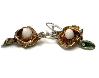 Eco Friendly Nest Earrings with Egg, Recycled Sterling Silver, Sustainable, Art Jewelry, Porcelain Earrings, Art Earrings