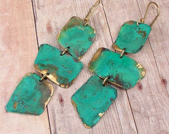 VERDIGRIS CASCADE Earrings OOAK One Of A Kind Brass with 14k Goldfill Ear Wires