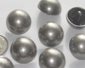 Weighty dull SILVER metal set 8 vtg new Metal Mushroom Dome buttons 24mm 15/16""
