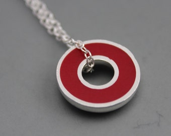Argentium Silver and Red Resin Donut Pendant