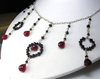 VDAY SALE Regal in Red Necklace - Swarovski Crystal and Sterling Silver