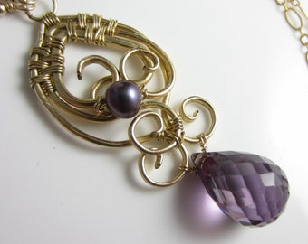 Purple Honey Necklace - 14k Gold Filled Wrapped Pendant with Quartz and Pearl