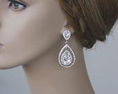 Bridal Teardrop Earrings Bridal Earrings Crystal Water Drop Dangle Earrings Crystal Embellished Earrings Bridesmaid Jewelry