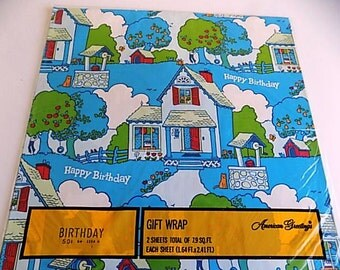 Vintage American Greetings Happy Birthday Gift Wrap Scrapbooking Decopouge Altered Art Collage