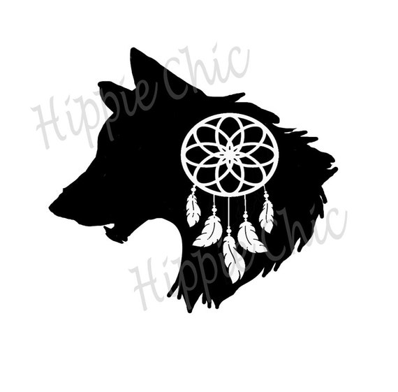 wolf totem dream catcher decal for yeti or car indoor outdoor safe