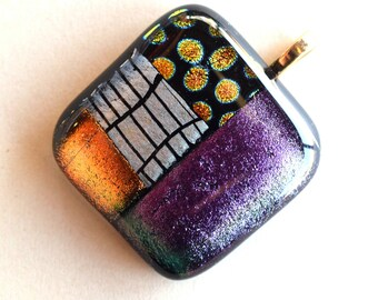 Glass Pendant - Purple  Pink  Red  Taupe Pendant  - Dichroic Glass Pendant - Fused Glass Pendant - Glass Pendant