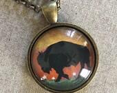 Long Necklace - Grazing Buffalo Necklace - Buffalo Art - Buffalo Jewelry - Buffalo NY - Buffalove - Buffalo Gift - Buffalo Print