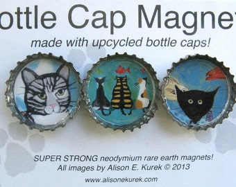 Perfect Gift for Cat Lover - Cat Magnets - Tiger Cat - Black Cat Magnet - Cat Art - Magnets - Packaged Gift Set of 3 - Cat Gift