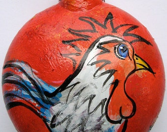 Rooster Ornament - Chicken Ornament - Rooster Decor - Hand Painted Chicken Christmas Ornament