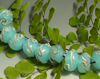 SRA Lampwork Glass Beads by Catalinaglass  Jade and Silvered Ivory