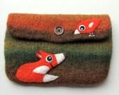 Felted bag pouch purse bag hand knit needle felted orange green wool needle felted fox birdie bird