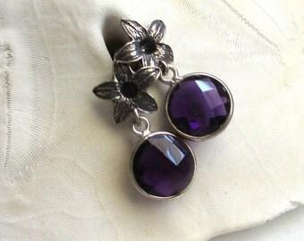 Natural Amethyst Earrings, Gemstone Slice Earrings, February Birthstone Earrings, Sterling Post Earrings, Purple Flower Earrings, Callie