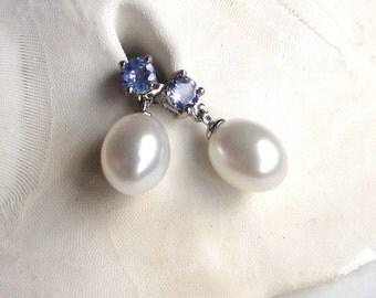 Tanzanite Earrings with Pearl Dangle, June Birthstone Earrings, Pearl Gemstone Earrings, December Birthstone, Tanzanite Post Dangles, Daphne