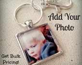 Custom Made Photo Keychain l 1-Inch GLASS Photo Keychain with Lobster Clasp or Purse Key Clip Set in Silver Tray l Handmade Gift