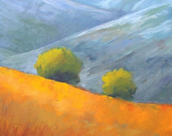 Landscape Oil Painting, Original Mountain Scene, Trees, Fields, 12x12 Canvas, Square Format, Wall Decor Art, Blue Orange, Nature Design