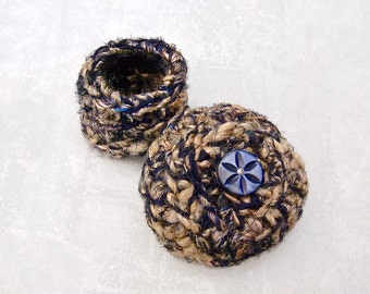Silk Tapestry Basket with Embellished Lid - Handmade Silk Basket with Carved Blue Abalone Flower Button - Unique Gift for Mothers Day STB021
