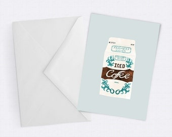 South Australian Iced Coffee - fun Greeting Card for coffee lovers - Blank inside for any occassion