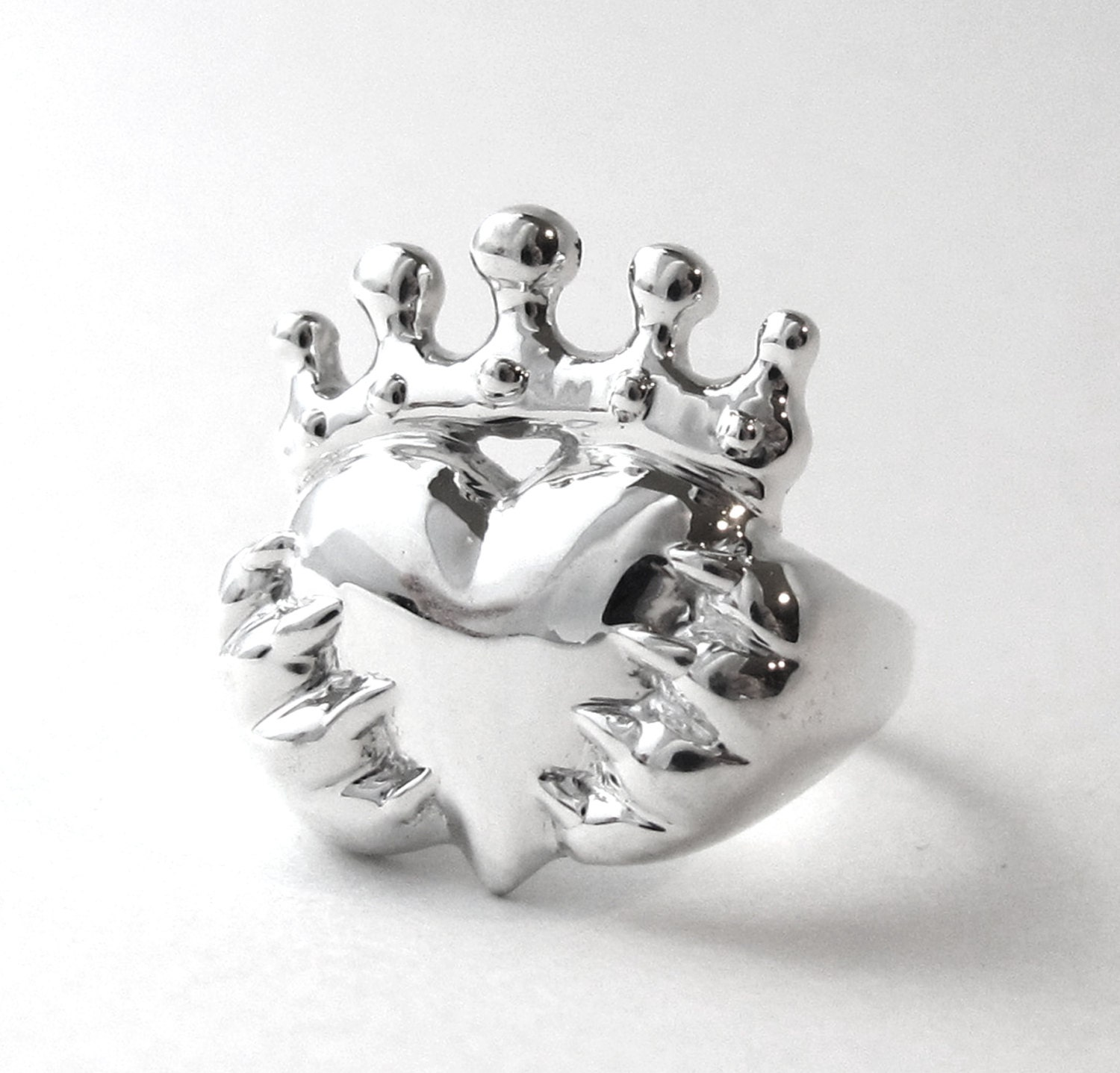 Cat Claddagh Promise Ring Silver Cat Paw Claddagh Ring Cat