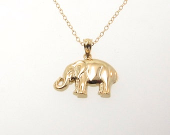 Gold Elephant Necklace - Lucky Elephant 14K Solid Gold