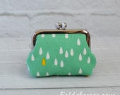 Small Frame Coin Purse Modern Raindrop Green Rosary Case Earbud Case Earbud Holder Clasp Change Purse