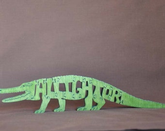 Alligator or Crocodile  Reptile Wooden Puzzle Toy  Hand  Cut  with Scroll Saw