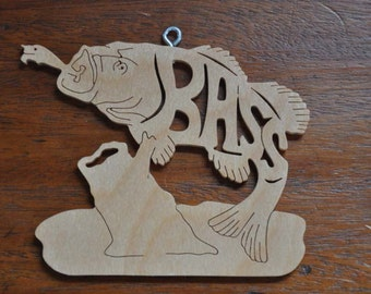 Bass Fish with Lure Wooden Fisherman's  Fishing Ornament Hand Cut with Scroll Saw