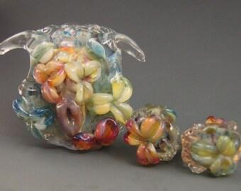 3 boro/borosilicate handmade artisan lampwork glass beads, Redside Designs, SRA
