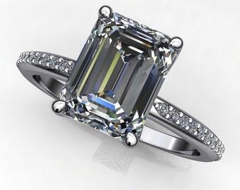 charlize ring – 2 carat emerald cut SUPERNOVA moissanite engagement ring, diamond pave band