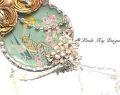 The Faeries Garden Soldered Vintage Tin Necklace Upcycled Tin Fairy Nymph Statement Necklace Lorelie Kay Designs