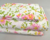 Vintage king sheet set, mid century modern sheets, floral, pink daisy print, king bedding, Lady Pepperell