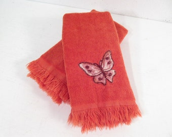 Vintage finger towel set, orange with butterfly, butterflies, bathroom decor