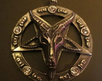 Goat Ram's Head Pendant Baphomet Inverted Pentagram HUGE