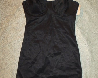 SALE Vintage NOS Black Satin Corset Slip Girdle Dress 34B 36B