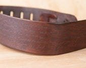 Leather Guitar Strap - Personalized Smokey Pattern - Chocolate Brown - Custom Guitar Strap for Acoustic or Electric Guitars - Banjo Strap