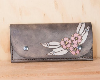 Leather Wristlet Wallet - Womens Large Wallet with Wrist Strap - Dakota pattern with flowers in pink and antique black - Fits iPhone 6+