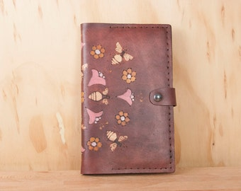 Leather Journal Cover - Meadow Journal with bees and flowers in yellow, pink and antique mahogany - fits Moleskine Large Hardbound Journal