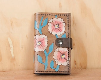 Small Wallet with Coin Compartment - Womens Wallet - Aurora pattern with flowers and vines - Pink, white, turquoise and antique black