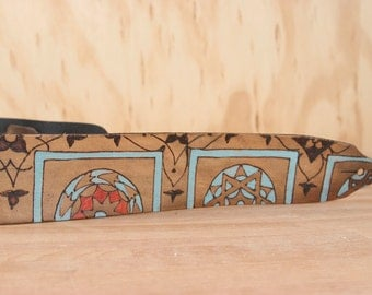 Guitar Strap - Leather Guitar Strap - Duomo pattern with Florence-Inspired Geometric Pattern