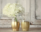 Gold vases, wedding decor, 6 gold dipped centerpiece vases, gold glitter vase, wedding table decor, gold metallic vase