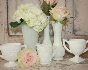 Milk glass vase set, Instant collection, White vase, hobnail, 6 shabby chic vintage wedding table decor, set of 6 milk glass budvases